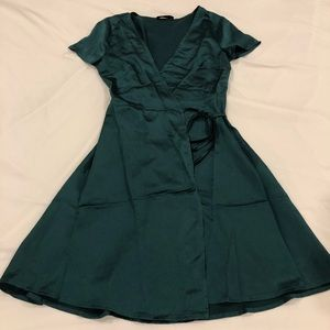 forest green wrap dress